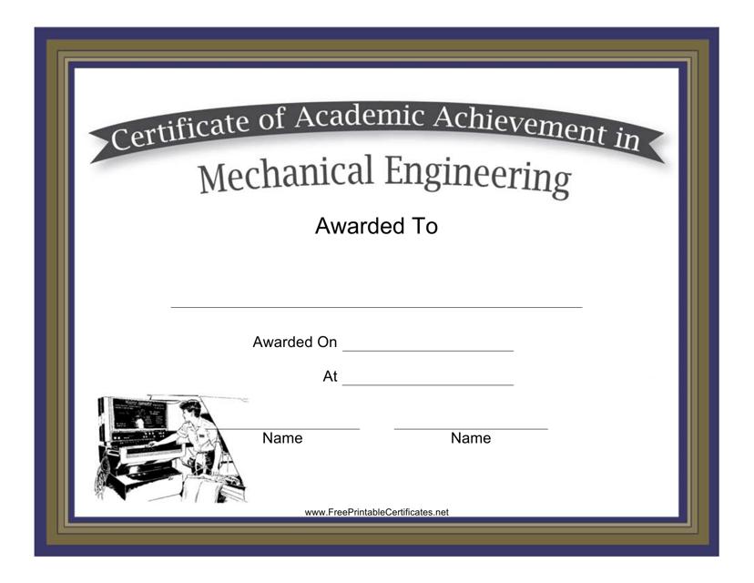 Mechanical Engineering Academic Achievement Certificate Template