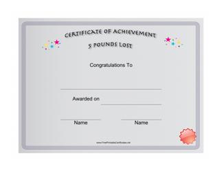 """5 Pounds Weight Loss Achievement Certificate Template"""