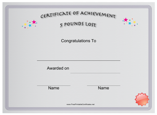 """""""5 Pounds Weight Loss Achievement Certificate Template"""" Download Pdf"""