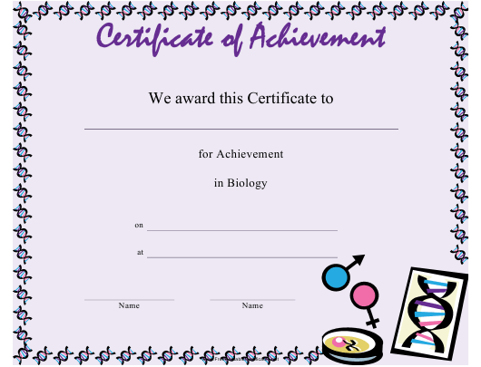 biology achievement certificate template download
