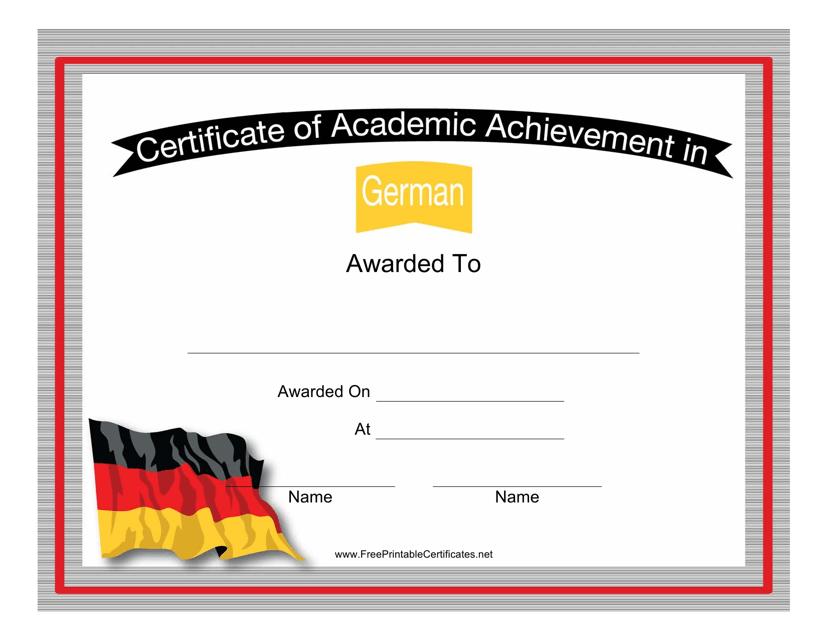 """German Language Certificate of Academic Achievement Template"" Download Pdf"