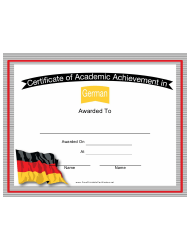 German Language Certificate Of Academic Achievement Template