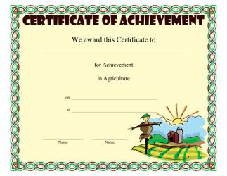 """Agriculture Achievement Certificate Template"""