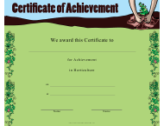 """""""Horticulture Achievement Certificate Template"""""""