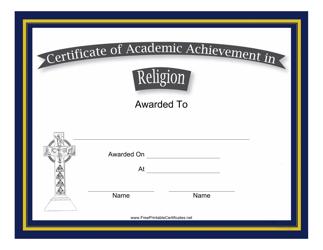 """Religion Academic Achievement Certificate Template"""