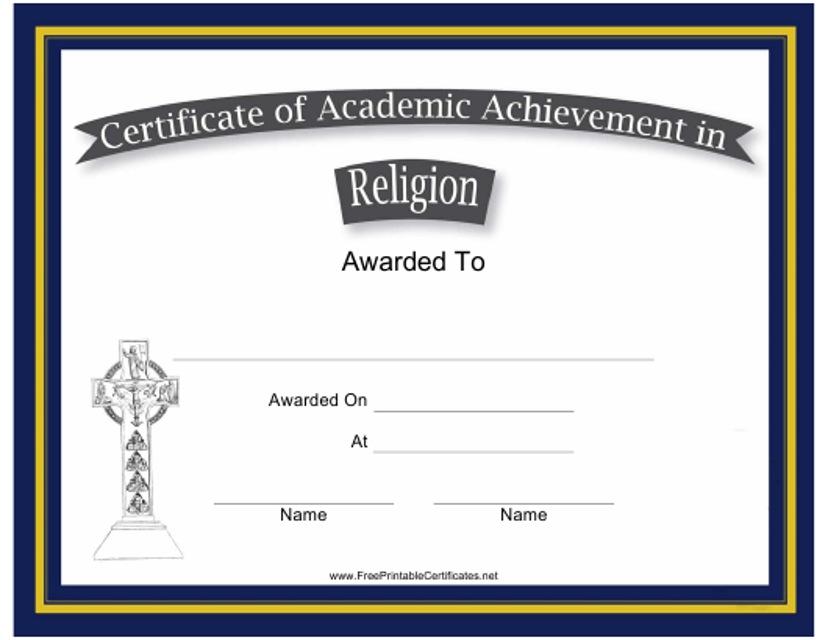 """Religion Academic Achievement Certificate Template"" Download Pdf"