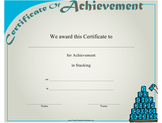 """""""Stacking Achievement Certificate Template"""" Download Pdf"""