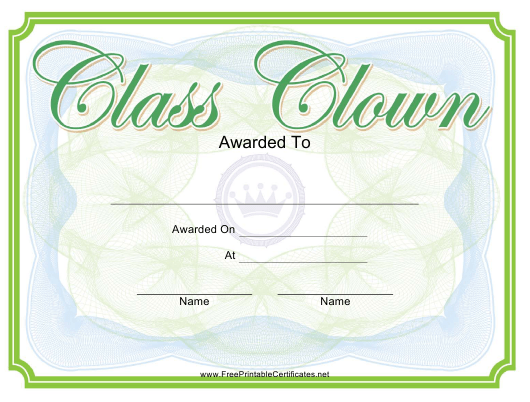 """""""Class Clown Yearbook Certificate Template"""" Download Pdf"""