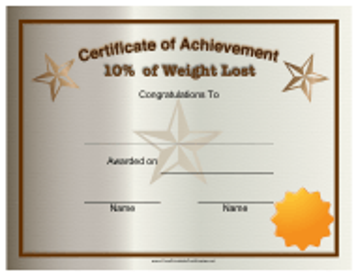 """10 Percent Weight Loss Certificate of Achievement Template"""