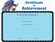 """Auto Mechanics Achievement Certificate Template"""