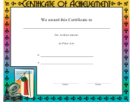 """Fine Art Achievement Certificate Template"""