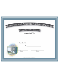 Computer Science Academic Achievement Certificate Template