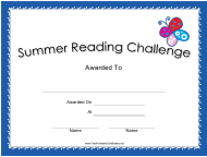 """Summer Reading Challenge Certificate Template"""