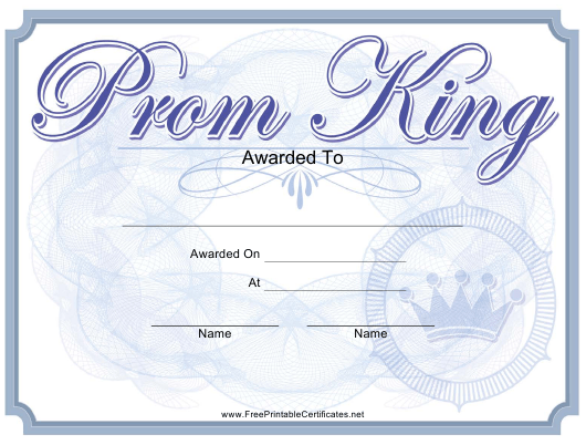 Prom King Certificate Template Download Printable PDF | Templateroller