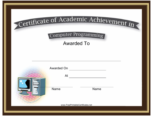 Computer Programming Academic Achievement Certificate Template ...