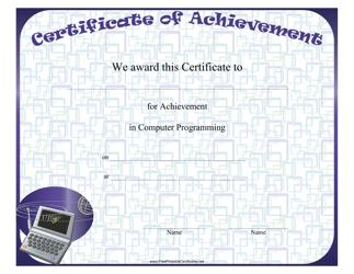 """Computer Programming Achievement Certificate Template"""