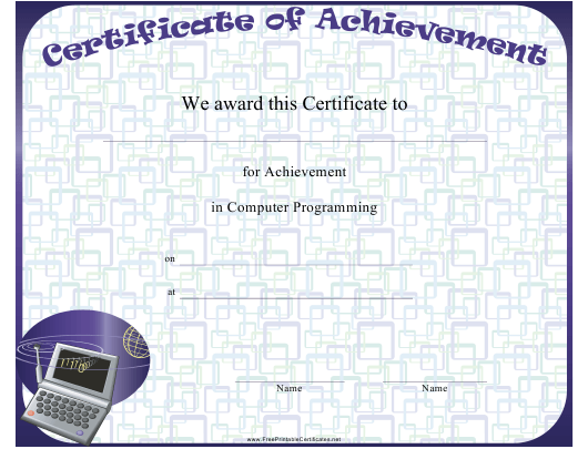 Computer Programming Achievement Certificate Template Download ...