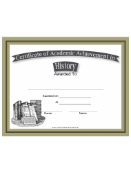 History Academic Achievement Certificate Template