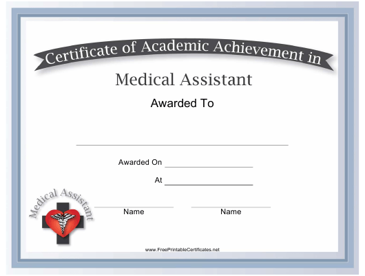 medical assistant academic achievement certificate template download