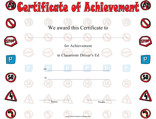 driver education achievement certificate template download