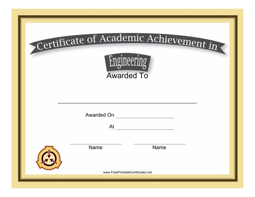 """Engineering Academic Achievement Certificate Template"" Download Pdf"