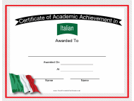 """Italian Language Achievement Certificate Template"""