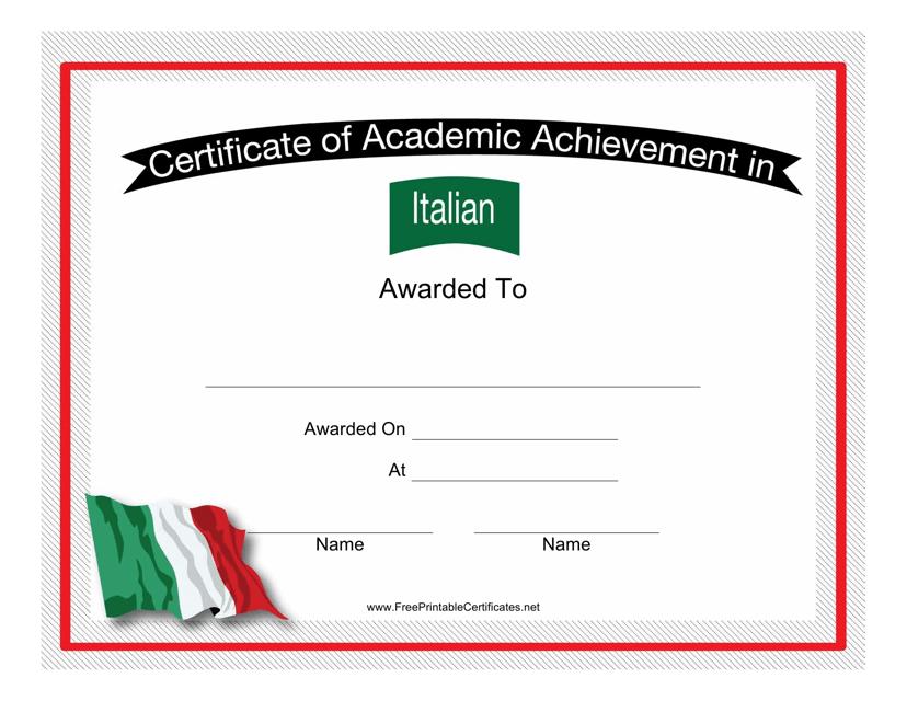 """Italian Language Achievement Certificate Template"" Download Pdf"