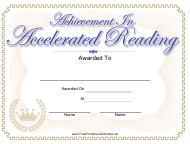 """Accelerated Reading Achievement Certificate Template"""