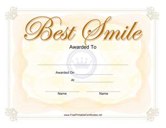 Best Smile Certificate Template