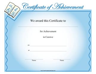 """Cursive Achievement Certificate Template"""