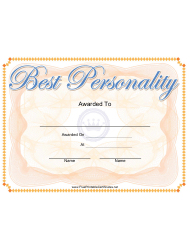 Best Personality Certificate Template