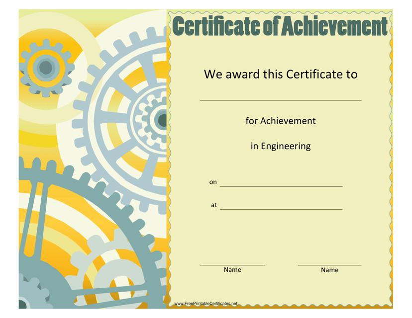 """Engineering Achievement Certificate Template"" Download Pdf"