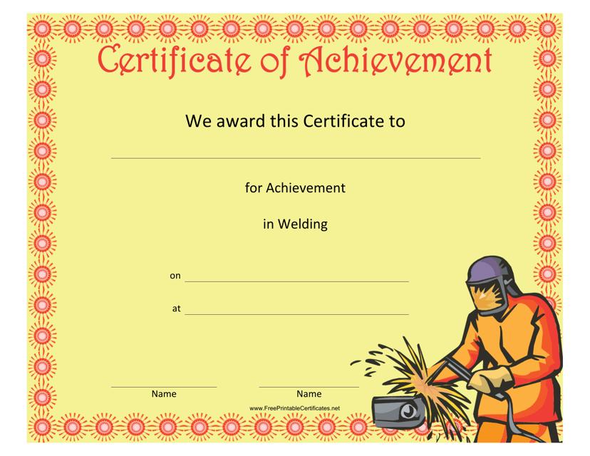 Welding Achievement Certificate Template Download Printable PDF ...
