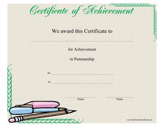 """Penmanship Achievement Certificate Template"""