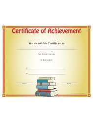 Literature Achievement Certificate Template