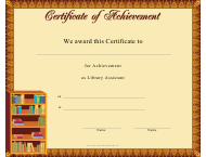 """Library Assistant Achievement Certificate Template"""