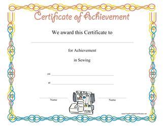 """Sewing Achievement Certificate Template"""