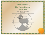"""Big Horn Sheep Hunting Achievement Certificate Template"""