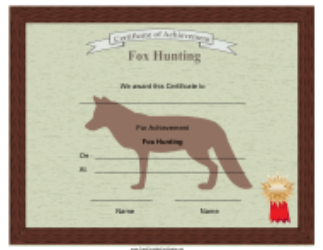 """Fox Hunting Achievement Certificate Template"""