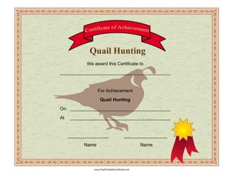 """Quail Hunting Achievement Certificate Template"""