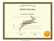 """Rabbit Hunting Achievement Certificate Template"""