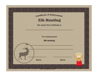"""Elk Hunting Achievement Certificate Template"""