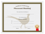 """Pheasant Hunting Achievement Certificate Template"""