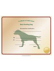 Hunting Dog Achievement Certificate Template