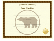 """Bear Hunting Achievement Certificate Template"""
