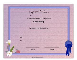 """Pageant Scholarship Achievement Certificate Template"""