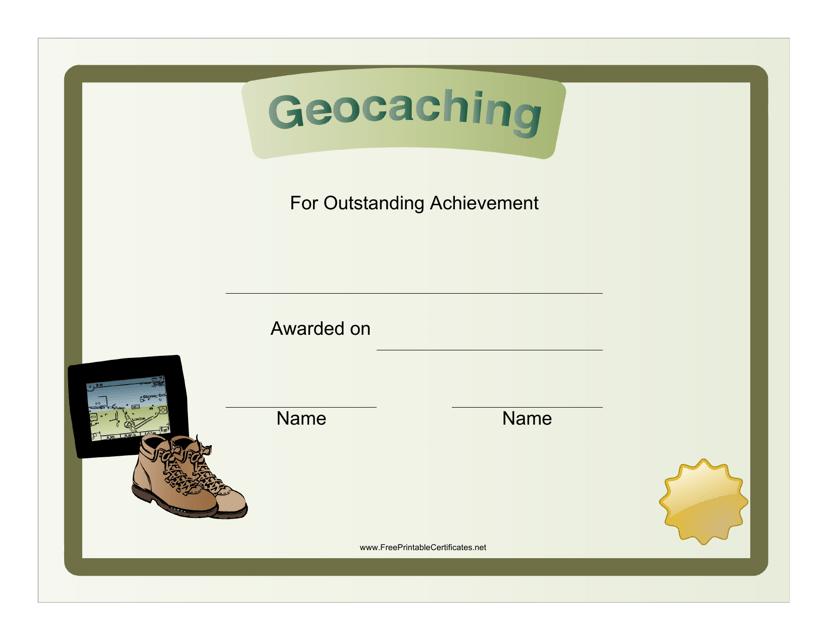 """Geocaching Achievement Certificate Template"" Download Pdf"