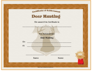 """Hunting Deer Achievement Certificate Template"""