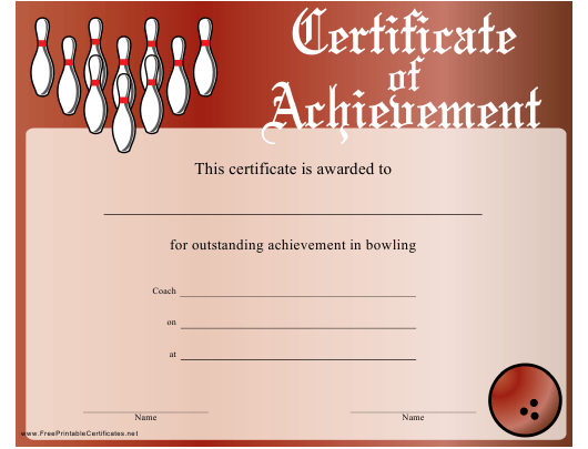 """""""Red Bowling Certificate of Achievement Template"""" Download Pdf"""