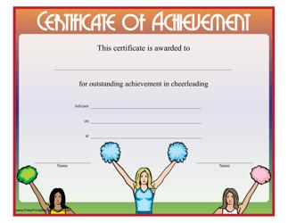 """Cheerleading Certificate of Achievement Template"""